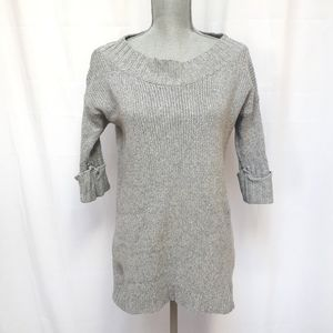 Free People Cotton Cashmere Knit Rib Grey Pullover